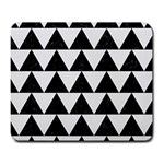TRIANGLE2 BLACK MARBLE & WHITE LINEN Large Mousepads