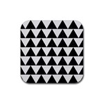 TRIANGLE2 BLACK MARBLE & WHITE LINEN Rubber Coaster (Square)