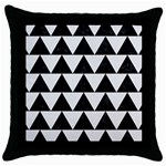 TRIANGLE2 BLACK MARBLE & WHITE LINEN Throw Pillow Case (Black)