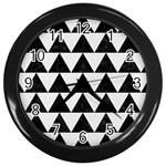 TRIANGLE2 BLACK MARBLE & WHITE LINEN Wall Clocks (Black)