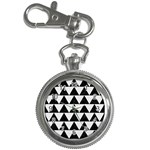 TRIANGLE2 BLACK MARBLE & WHITE LINEN Key Chain Watches