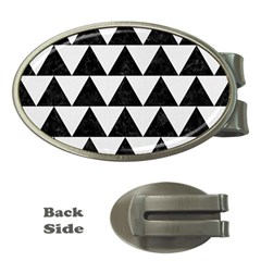 Triangle2 Black Marble & White Linen Money Clips (oval)  by trendistuff