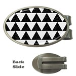 TRIANGLE2 BLACK MARBLE & WHITE LINEN Money Clips (Oval)