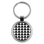 TRIANGLE2 BLACK MARBLE & WHITE LINEN Key Chains (Round)