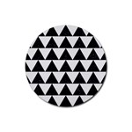 TRIANGLE2 BLACK MARBLE & WHITE LINEN Rubber Coaster (Round)
