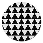 TRIANGLE2 BLACK MARBLE & WHITE LINEN Magnet 5  (Round)