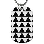 TRIANGLE2 BLACK MARBLE & WHITE LINEN Dog Tag (One Side)