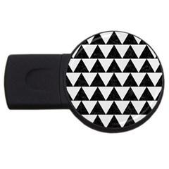 TRIANGLE2 BLACK MARBLE & WHITE LINEN USB Flash Drive Round (2 GB)