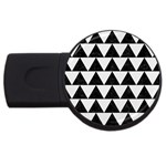 TRIANGLE2 BLACK MARBLE & WHITE LINEN USB Flash Drive Round (2 GB)