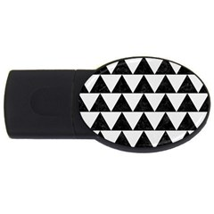 Triangle2 Black Marble & White Linen Usb Flash Drive Oval (2 Gb) by trendistuff