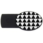 TRIANGLE2 BLACK MARBLE & WHITE LINEN USB Flash Drive Oval (2 GB)