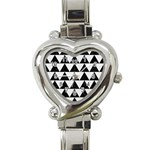 TRIANGLE2 BLACK MARBLE & WHITE LINEN Heart Italian Charm Watch