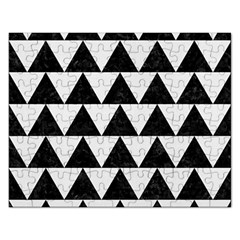 Triangle2 Black Marble & White Linen Rectangular Jigsaw Puzzl by trendistuff