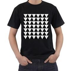 TRIANGLE2 BLACK MARBLE & WHITE LINEN Men s T-Shirt (Black) (Two Sided)