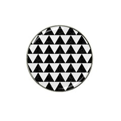 Triangle2 Black Marble & White Linen Hat Clip Ball Marker by trendistuff