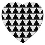 TRIANGLE2 BLACK MARBLE & WHITE LINEN Jigsaw Puzzle (Heart)