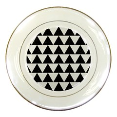 Triangle2 Black Marble & White Linen Porcelain Plates by trendistuff
