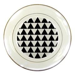 TRIANGLE2 BLACK MARBLE & WHITE LINEN Porcelain Plates