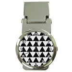 TRIANGLE2 BLACK MARBLE & WHITE LINEN Money Clip Watches
