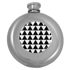 Triangle2 Black Marble & White Linen Round Hip Flask (5 Oz) by trendistuff