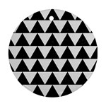 TRIANGLE2 BLACK MARBLE & WHITE LINEN Round Ornament (Two Sides)