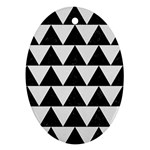 TRIANGLE2 BLACK MARBLE & WHITE LINEN Oval Ornament (Two Sides)