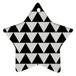 TRIANGLE2 BLACK MARBLE & WHITE LINEN Star Ornament (Two Sides)