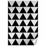 TRIANGLE2 BLACK MARBLE & WHITE LINEN Canvas 24  x 36