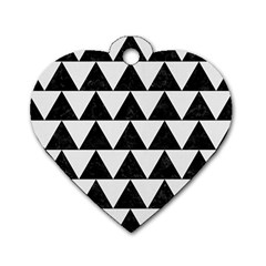 TRIANGLE2 BLACK MARBLE & WHITE LINEN Dog Tag Heart (Two Sides)