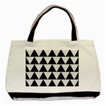 TRIANGLE2 BLACK MARBLE & WHITE LINEN Basic Tote Bag (Two Sides)