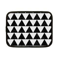Triangle2 Black Marble & White Linen Netbook Case (small)