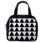 TRIANGLE2 BLACK MARBLE & WHITE LINEN Classic Handbags (One Side)