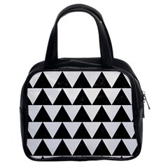 Triangle2 Black Marble & White Linen Classic Handbags (2 Sides) by trendistuff
