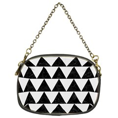 TRIANGLE2 BLACK MARBLE & WHITE LINEN Chain Purses (One Side)
