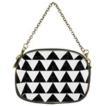 TRIANGLE2 BLACK MARBLE & WHITE LINEN Chain Purses (Two Sides)