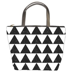 Triangle2 Black Marble & White Linen Bucket Bags by trendistuff