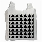 TRIANGLE2 BLACK MARBLE & WHITE LINEN Recycle Bag (Two Side)