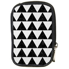 Triangle2 Black Marble & White Linen Compact Camera Cases by trendistuff