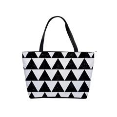 Triangle2 Black Marble & White Linen Shoulder Handbags by trendistuff