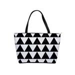 TRIANGLE2 BLACK MARBLE & WHITE LINEN Shoulder Handbags