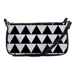 TRIANGLE2 BLACK MARBLE & WHITE LINEN Shoulder Clutch Bags