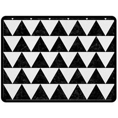 Triangle2 Black Marble & White Linen Fleece Blanket (large)  by trendistuff
