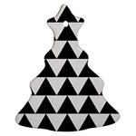 TRIANGLE2 BLACK MARBLE & WHITE LINEN Ornament (Christmas Tree)