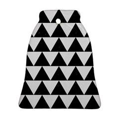 TRIANGLE2 BLACK MARBLE & WHITE LINEN Ornament (Bell)