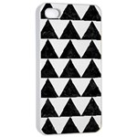TRIANGLE2 BLACK MARBLE & WHITE LINEN Apple iPhone 4/4s Seamless Case (White)