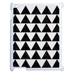 Triangle2 Black Marble & White Linen Apple Ipad 2 Case (white) by trendistuff