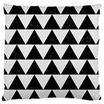 TRIANGLE2 BLACK MARBLE & WHITE LINEN Large Cushion Case (Two Sides)