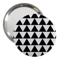 TRIANGLE2 BLACK MARBLE & WHITE LINEN 3  Handbag Mirrors