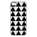 TRIANGLE2 BLACK MARBLE & WHITE LINEN Apple iPhone 5 Case (Silver)