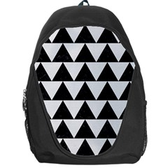 Triangle2 Black Marble & White Linen Backpack Bag by trendistuff